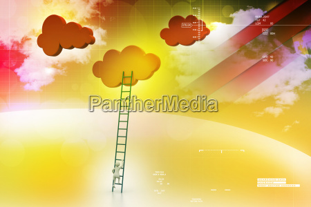 a competition concept clouds with ladders