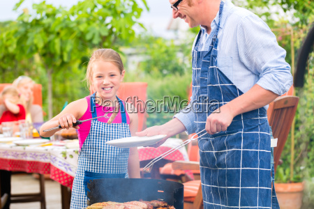 grill party with family in the