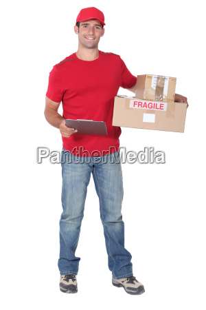 courier with parcels and clipboard
