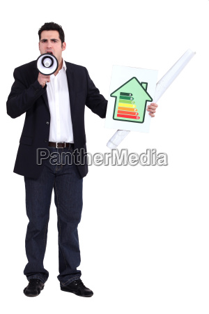 man with a megaphone and energy