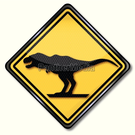 sign with dinosaurs and tyrannosaurus