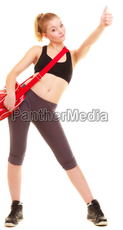 sport fitness girl with gym bag