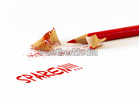 red pencil with shavings handwriting saving