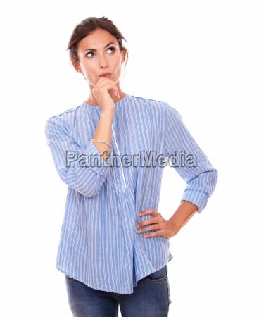 stylish adult woman asking herself a