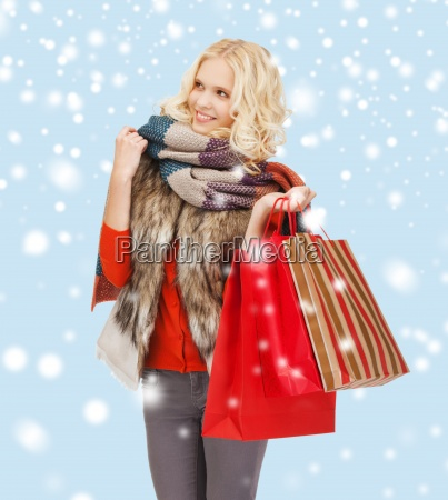 teenage girl in winter clothes with
