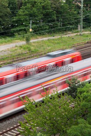 train subway in motion on rails