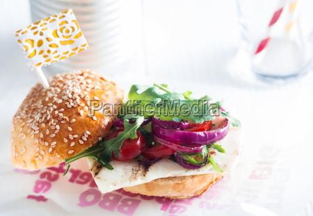 macro appetizing veggy burger on table