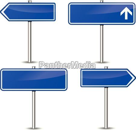 vector blue signpost set