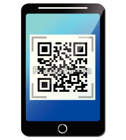 vector qr code on phone