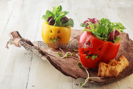 colorful fresh halloween bell pepper salads