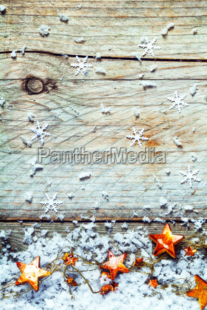 garland of christmas stars with snowflakes