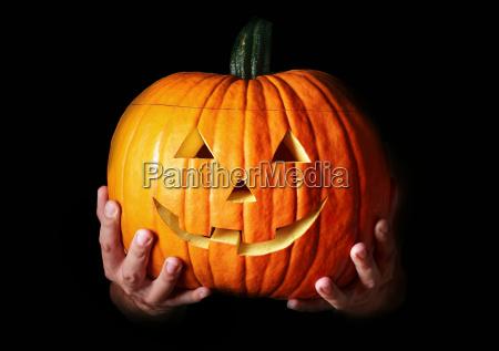 traditional halloween creepy carved pumpkin