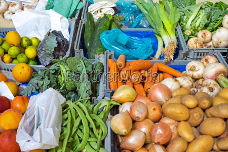 colorful vegetables on a market stall