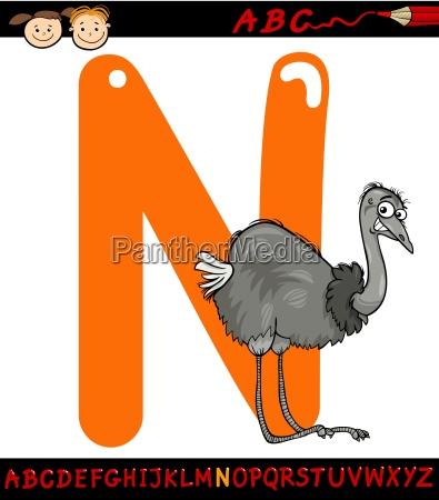 letter n for nandu cartoon illustration