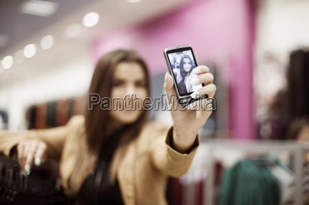 woman taking self portrait photo in