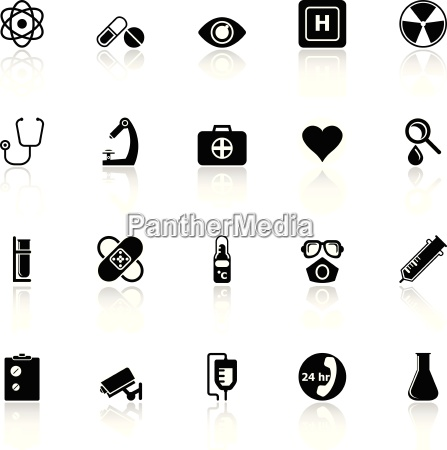 general hospital icons with reflect on