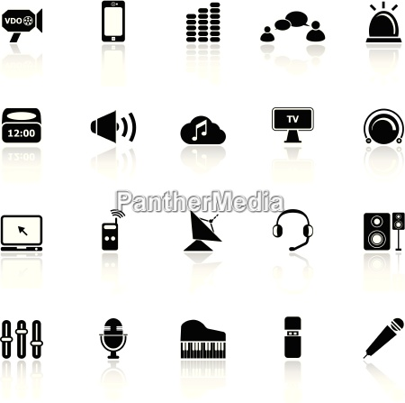 sound icons with reflect on white