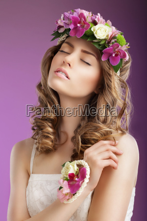 sentiment imaginative woman with bouquet of