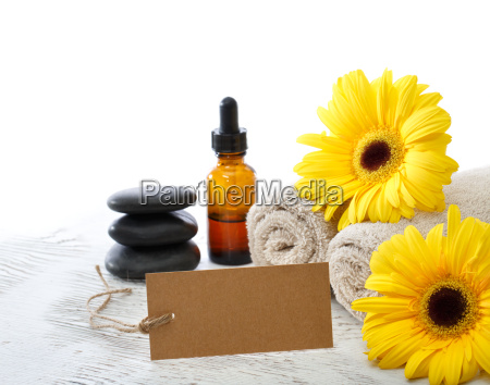 spa relaxation elements with blank card