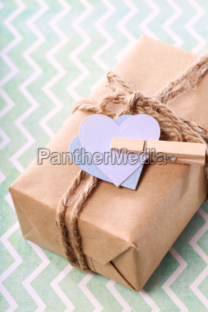 handmade present box in pastel theme