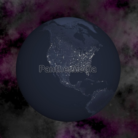 earth by night 3d render