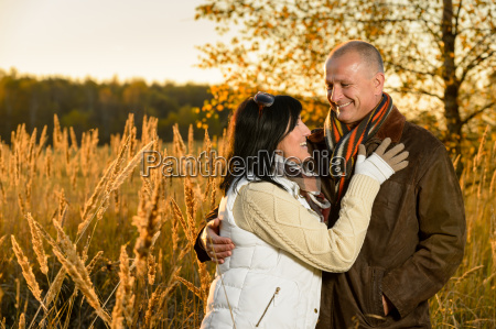 couple in love hugging in autumn