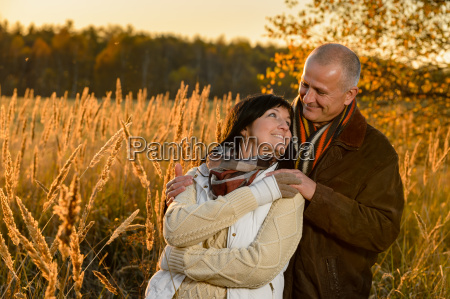 couple in love embracing in autumn