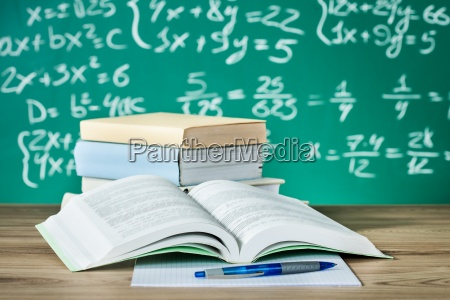 school textbooks on a desk