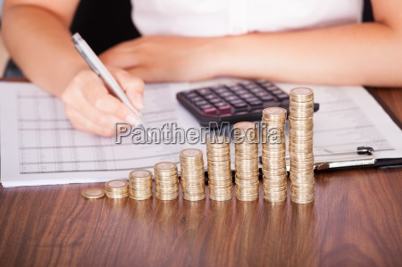 woman calculating financial work