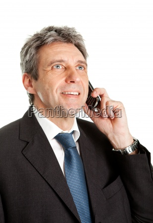 senior business man talking on cellphone
