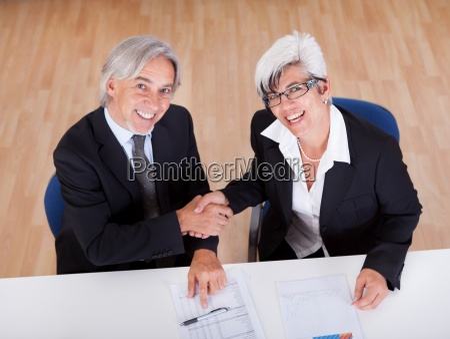 overhead view of business handshake