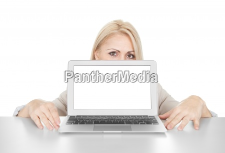 business woman presenting laptop