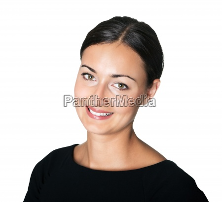 happy young lady looking at you