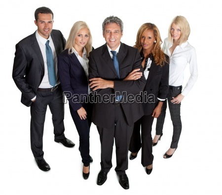 diverse business group standing proudly on