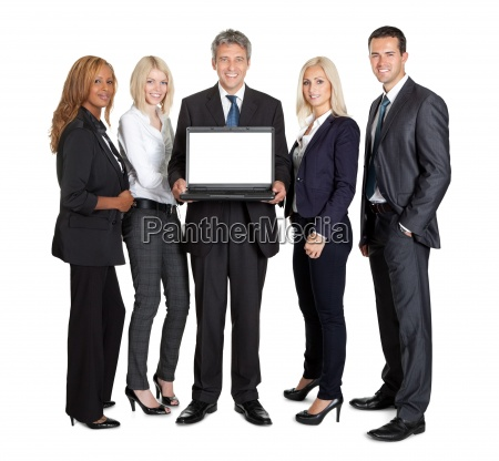 group of business people advertising a