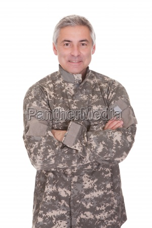 happy mature soldier