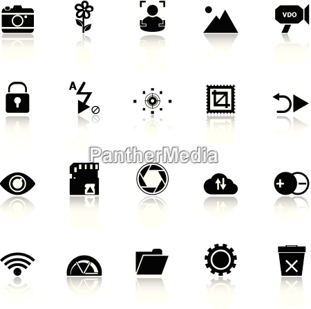 photography sign icons with reflect on