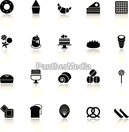 variety bakery icons with reflect on