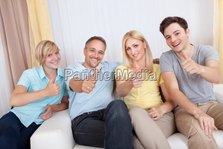 smiling family in group portrait