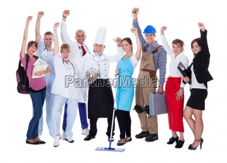 group of people representing diverse professions