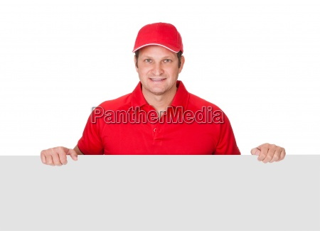 pizza delivery guy presenting empty banner