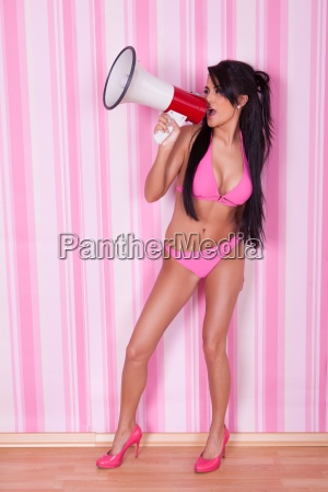 sexy woman with megaphone