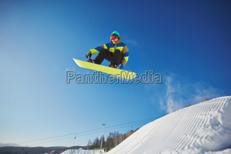 snowboarding at resort
