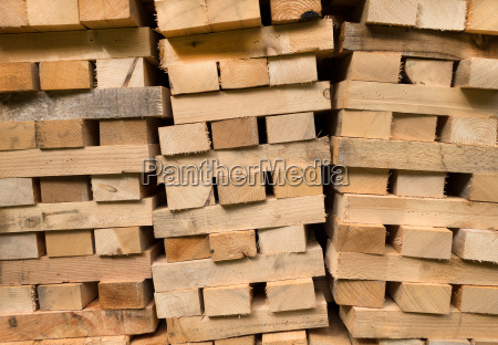 piled wooden beams