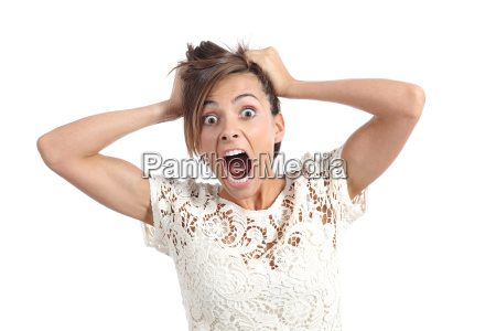 front view of a scared woman