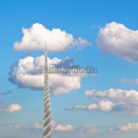 rope rises to little white cloud