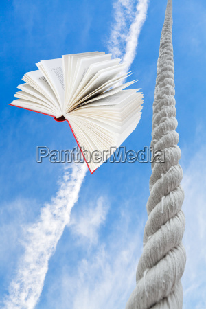 flying book and rope rises to