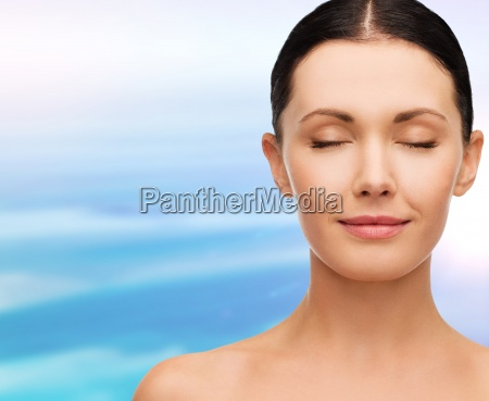 young calm woman with closed eyes