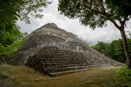 pyramid surrounded by jungle
