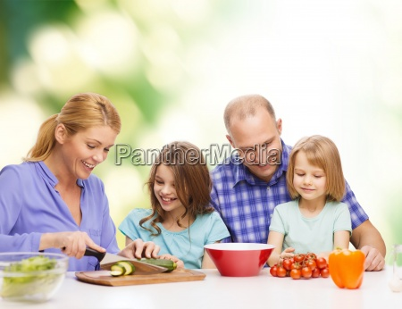 happy family with two kids making